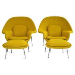 Pair of Knoll Eero Saarinen Womb Chairs and Ottomans Mid Century