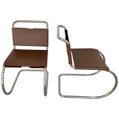 Pair of Knoll MR Chair, Stamped Knoll & Mies van der Rohe, Light Brown Cowhide