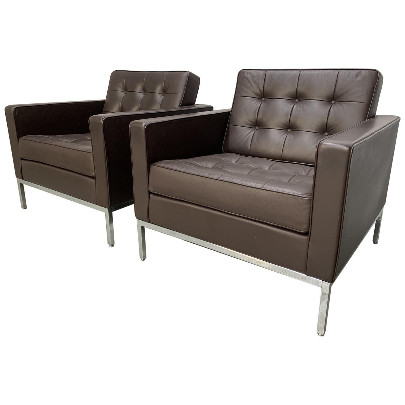 """Pair of Knoll Studio """"Florence Knoll"""" Lounge Chairs in """"Sabrina"""" Brown Leather"""