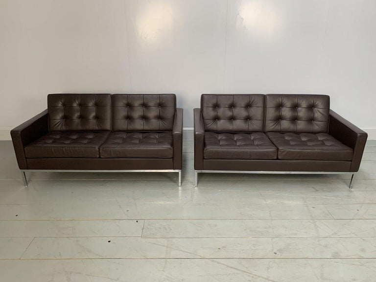 """Modern Pair of Knoll Studio """"Florence Knoll"""" Settee Sofas in """"Sabrina"""" Brown Leather For Sale"""