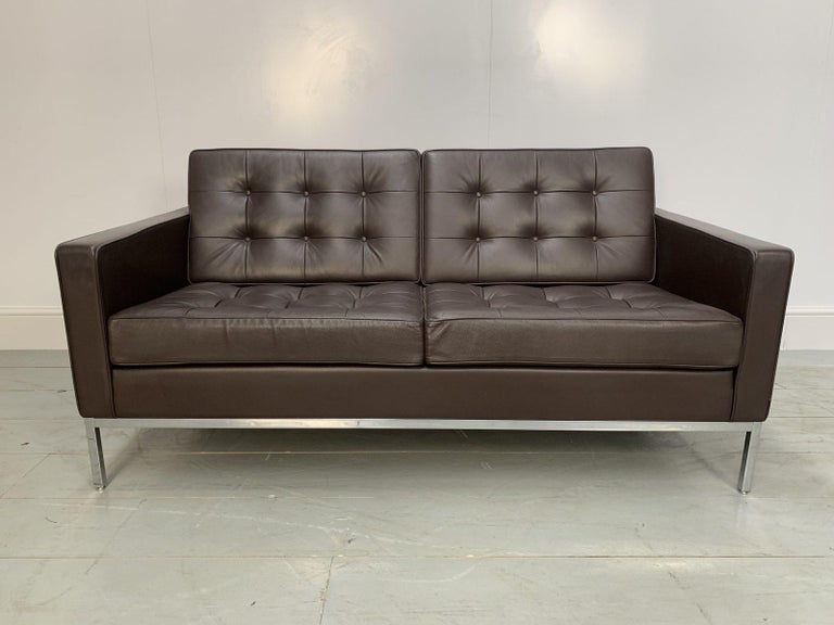 """Hand-Crafted Pair of Knoll Studio """"Florence Knoll"""" Settee Sofas in """"Sabrina"""" Brown Leather For Sale"""