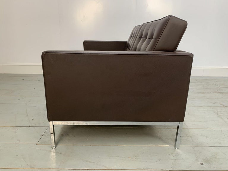"""Pair of Knoll Studio """"Florence Knoll"""" Settee Sofas in """"Sabrina"""" Brown Leather For Sale 1"""