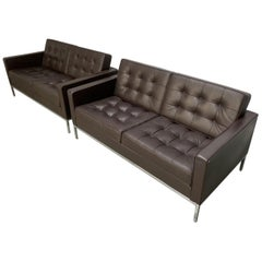 "Pair of Knoll Studio ""Florence Knoll"" Settee Sofas in ""Sabrina"" Brown Leather"