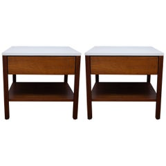 Pair of Knoll Walnut End Tables / Nightstands