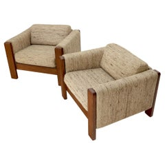 Pair of Knoll Wool Upholstery Cube Shape Lounge Club Chairs Teak Arms