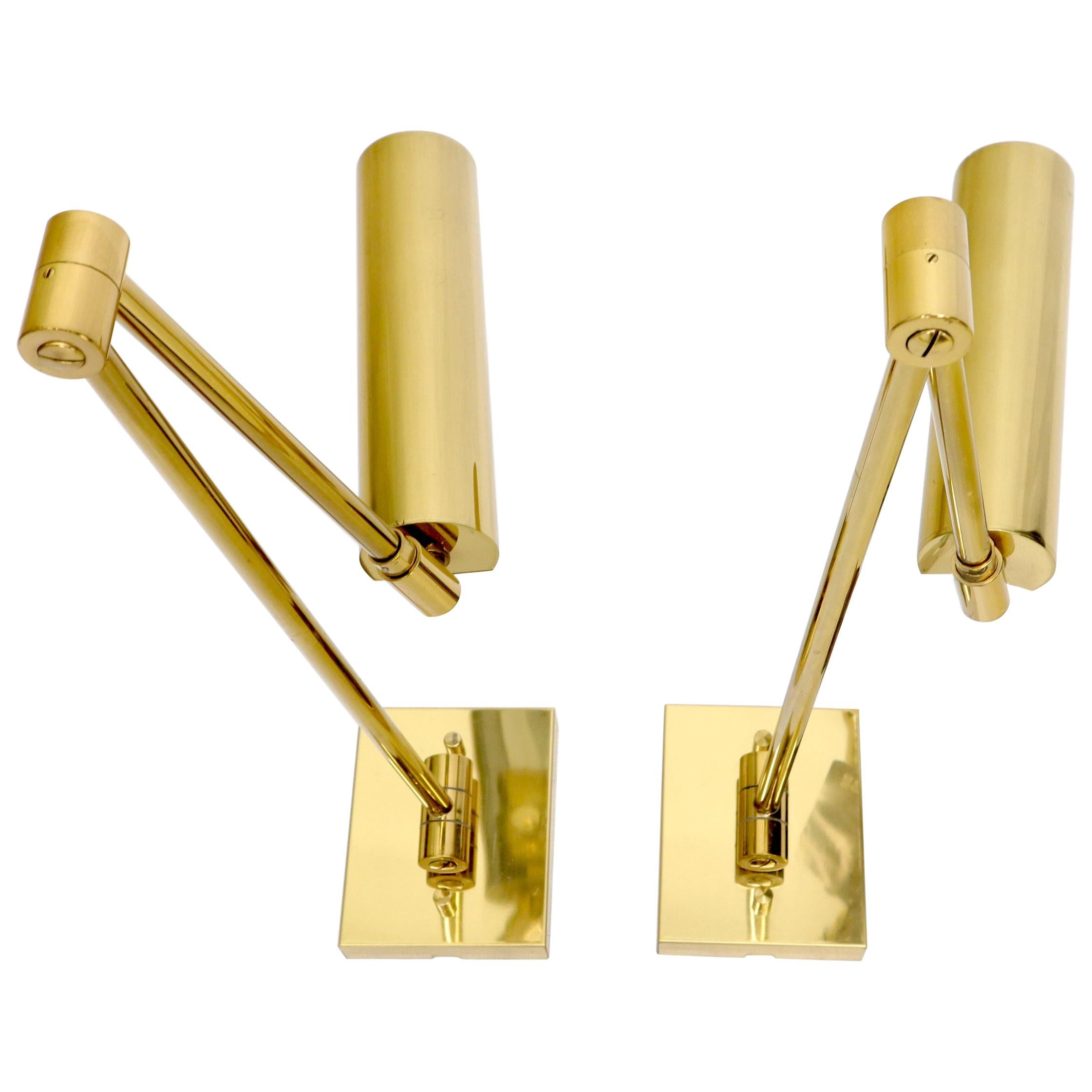 Pair of Koch and Lowy Brass Swing Articulating Arm Sconces