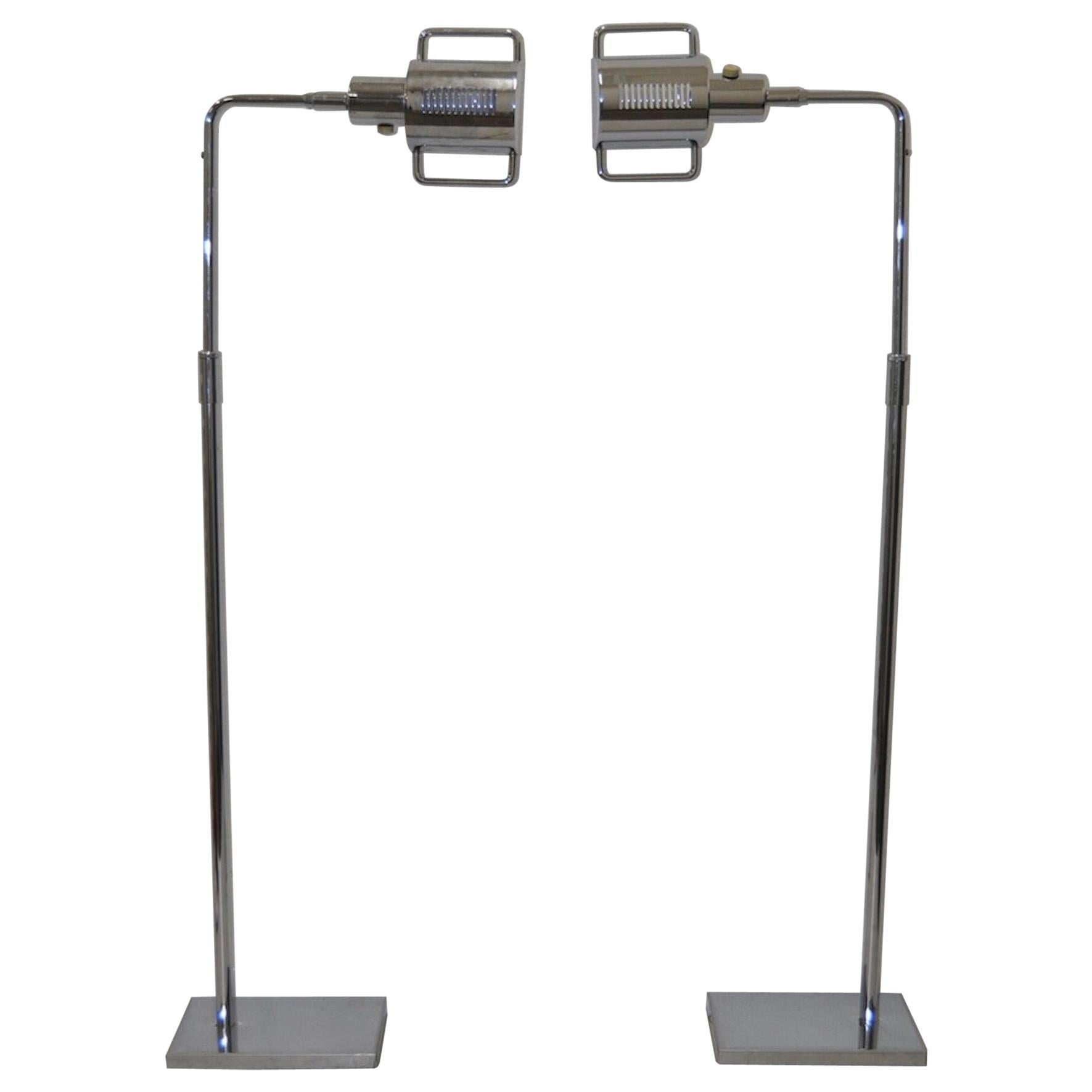Image of: Midcentury Adjustable Chrome Pharmacy Floor Lamp In The Style Of Koch And Lowy For Sale At 1stdibs