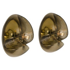 Pair of Koch & Lowy Smoked Glass Wall Sconces or Lights by Peill Putzler, 1970