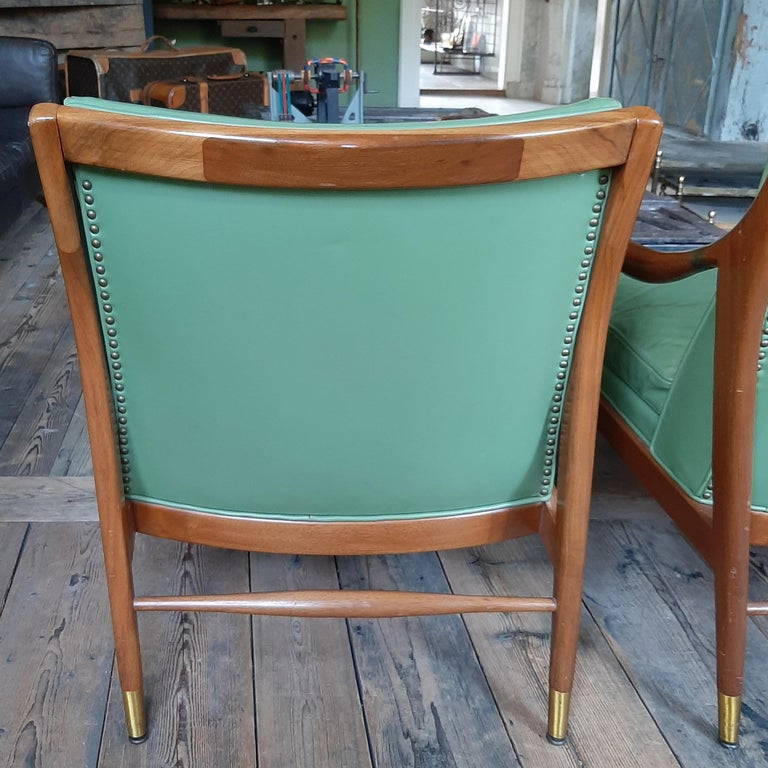 Pair of Kodof-Larsen 1960s Danish Lounge Chairs, Green Leather and Brass Accents For Sale 6