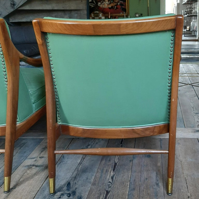 Pair of Kodof-Larsen 1960s Danish Lounge Chairs, Green Leather and Brass Accents For Sale 7