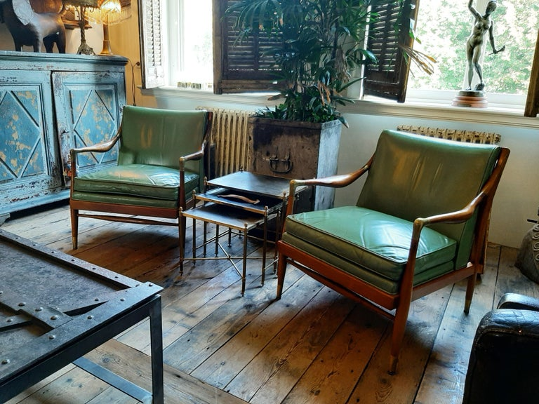 Mid-Century Modern Pair of Kodof-Larsen 1960s Danish Lounge Chairs, Green Leather and Brass Accents For Sale