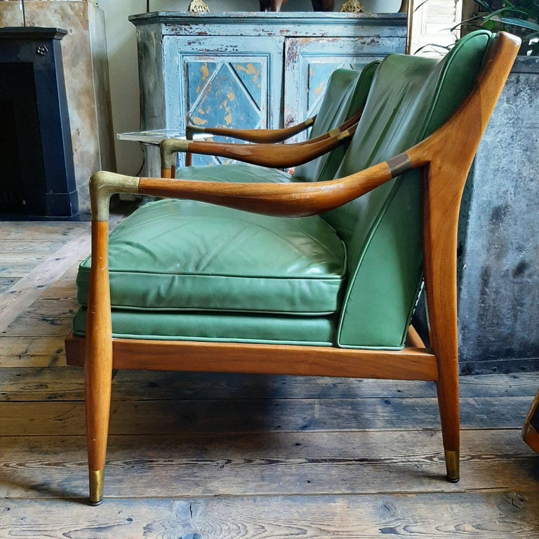Mid-20th Century Pair of Kodof-Larsen 1960s Danish Lounge Chairs, Green Leather and Brass Accents For Sale