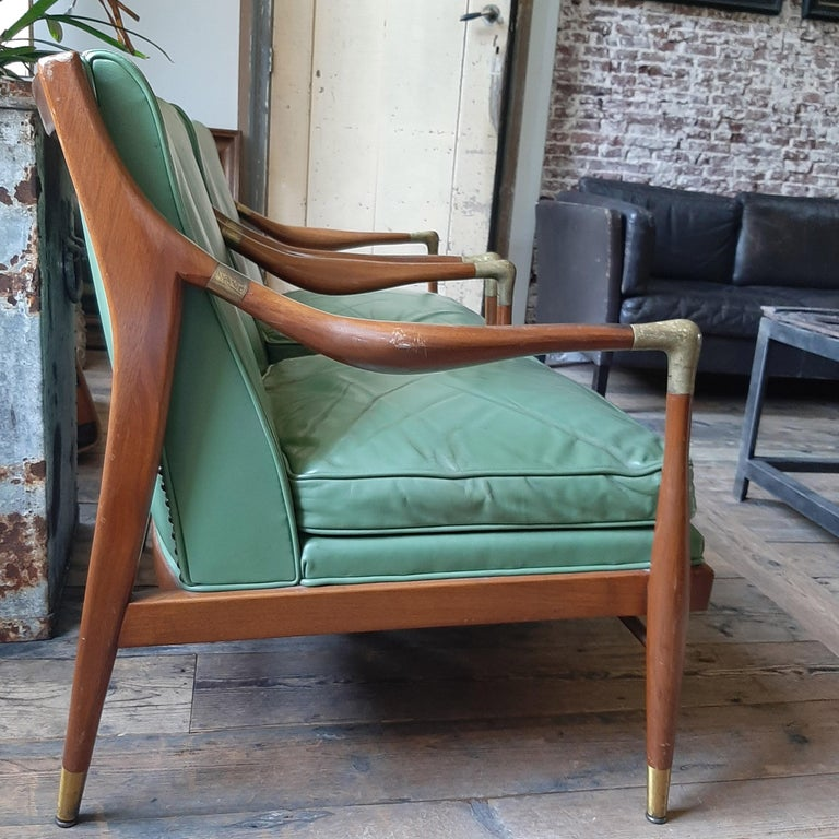Pair of Kodof-Larsen 1960s Danish Lounge Chairs, Green Leather and Brass Accents For Sale 1