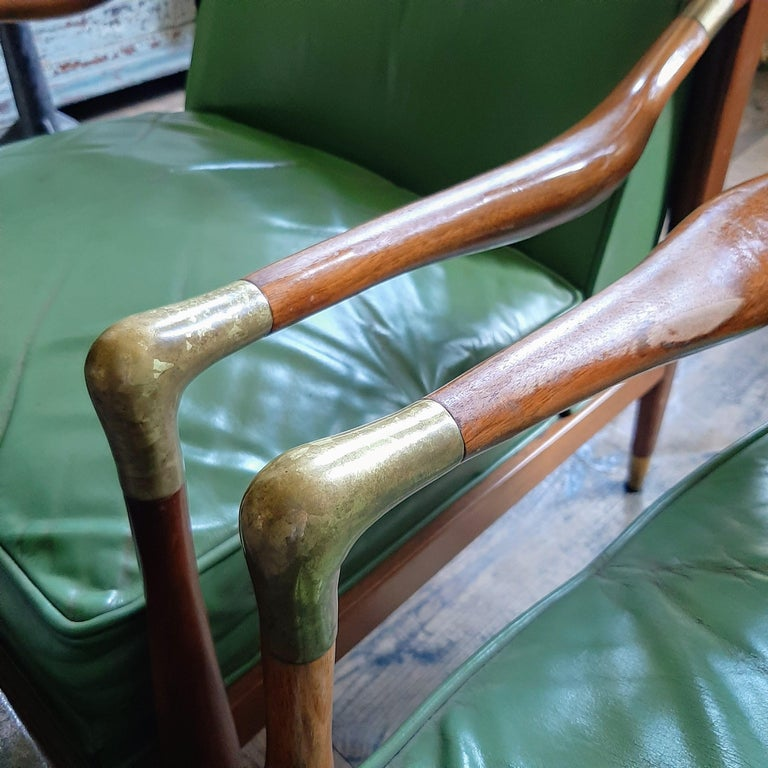 Pair of Kodof-Larsen 1960s Danish Lounge Chairs, Green Leather and Brass Accents For Sale 3