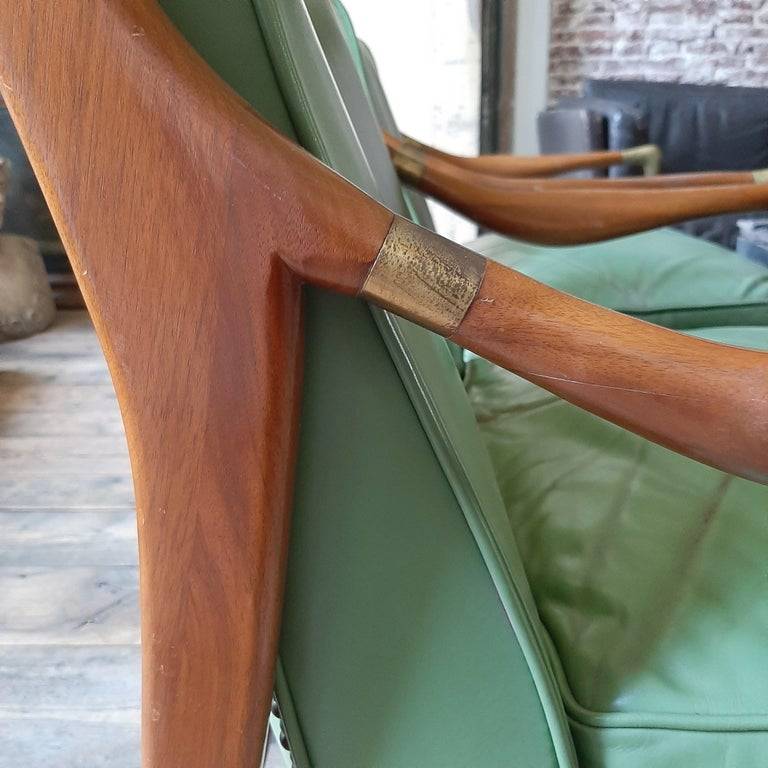 Pair of Kodof-Larsen 1960s Danish Lounge Chairs, Green Leather and Brass Accents For Sale 4