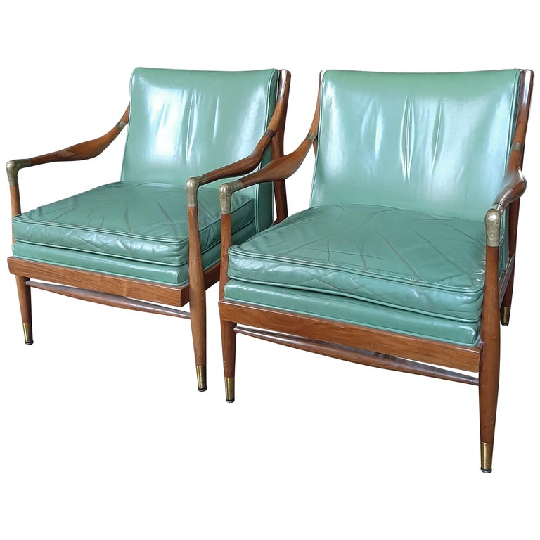 Pair of Kodof-Larsen 1960s Danish Lounge Chairs, Green Leather and Brass Accents For Sale