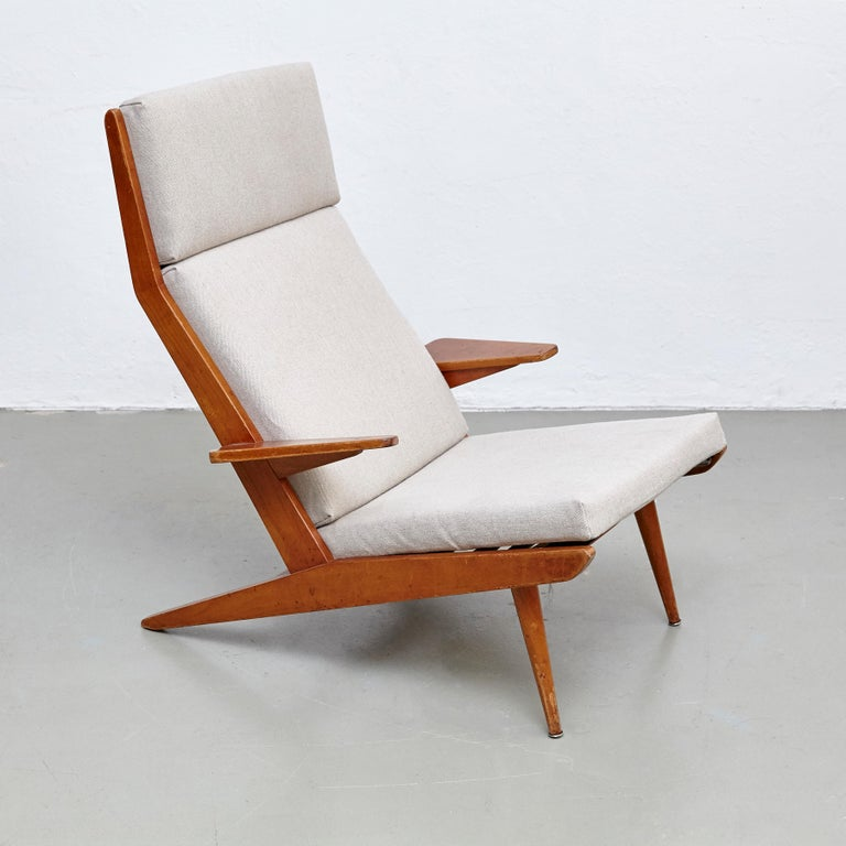 Pair of Koene Oberman, Mid Century Modern, Wood High Back Lounge Chair, 1960 For Sale 9