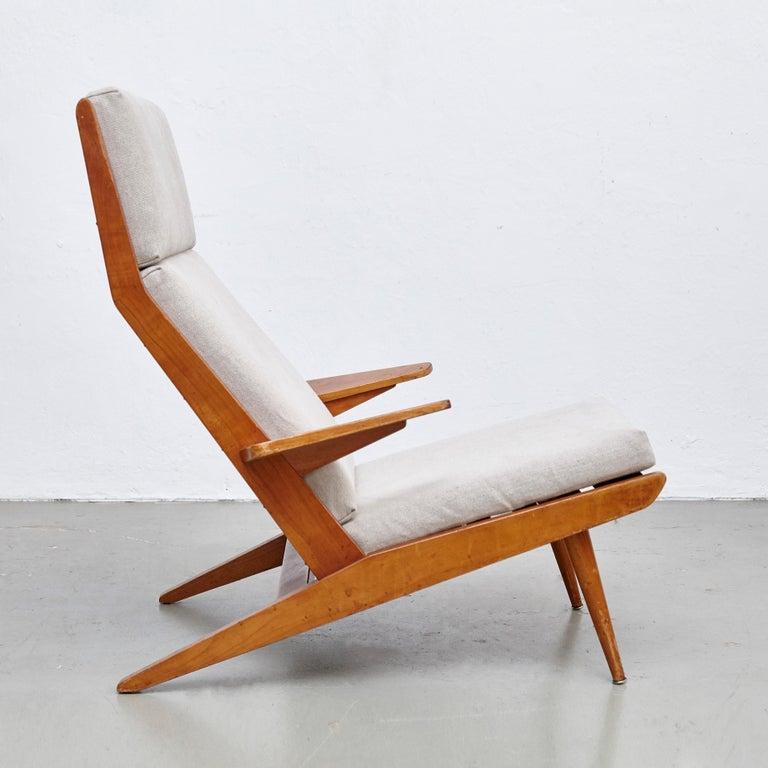 Pair of Koene Oberman, Mid Century Modern, Wood High Back Lounge Chair, 1960 For Sale 10