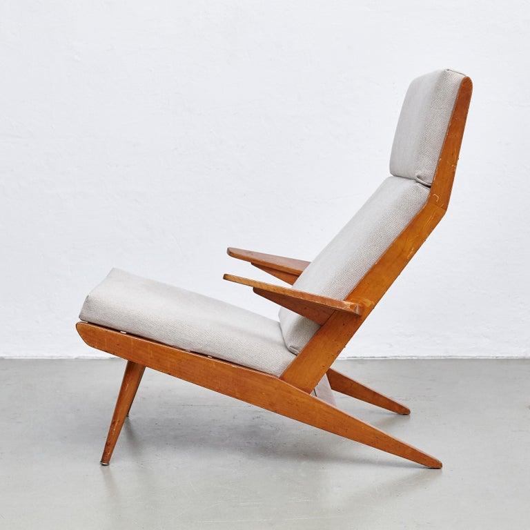Pair of Koene Oberman, Mid Century Modern, Wood High Back Lounge Chair, 1960 For Sale 11