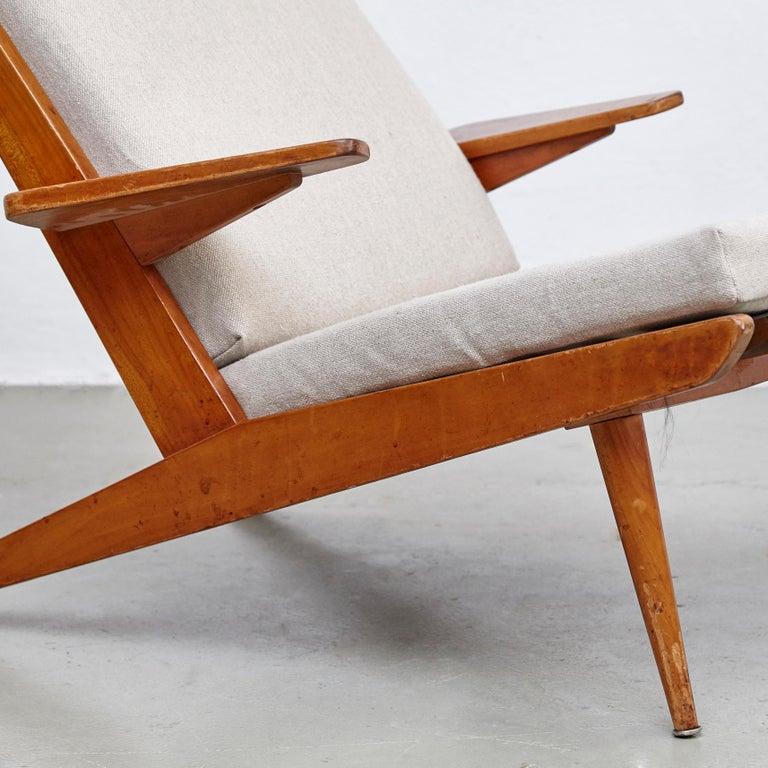 Pair of Koene Oberman, Mid Century Modern, Wood High Back Lounge Chair, 1960 For Sale 12