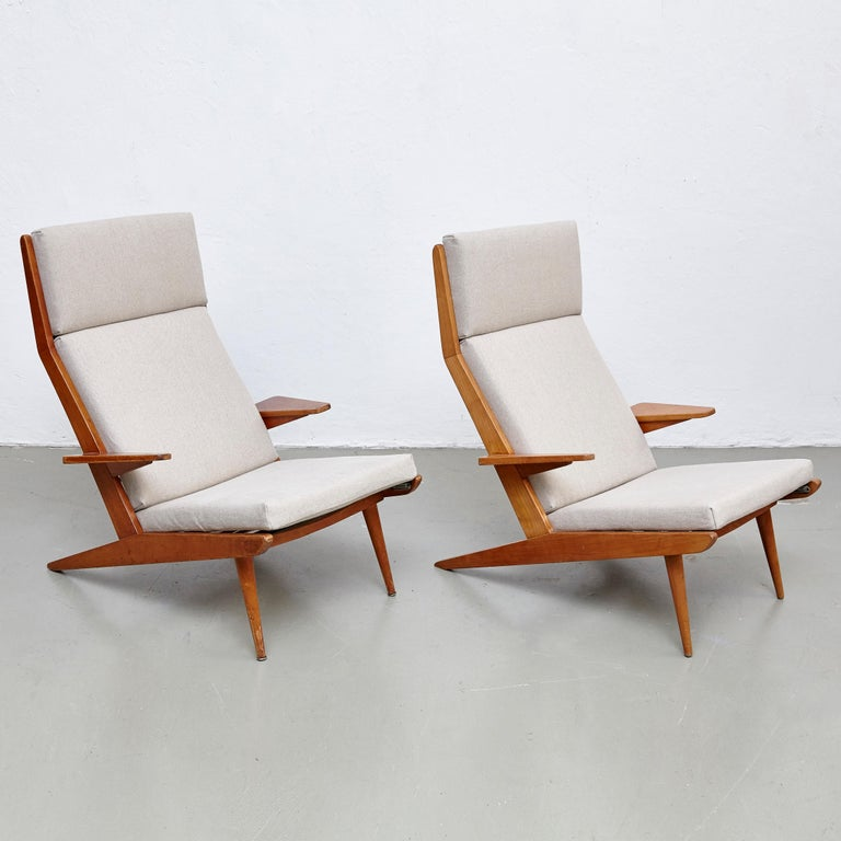 High back lounge chair by Koene Oberman, circa 1960.  Originated in Denmark  In good original condition, with minor wear consistent with age and use, preserving a beautiful patina.  New upholstery.