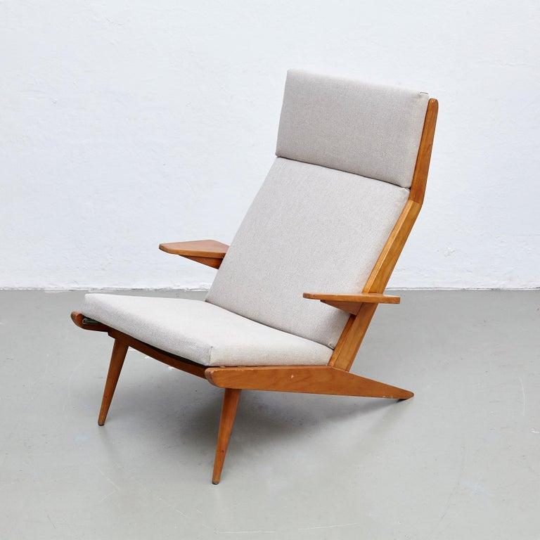 Mid-Century Modern Pair of Koene Oberman, Mid Century Modern, Wood High Back Lounge Chair, 1960 For Sale