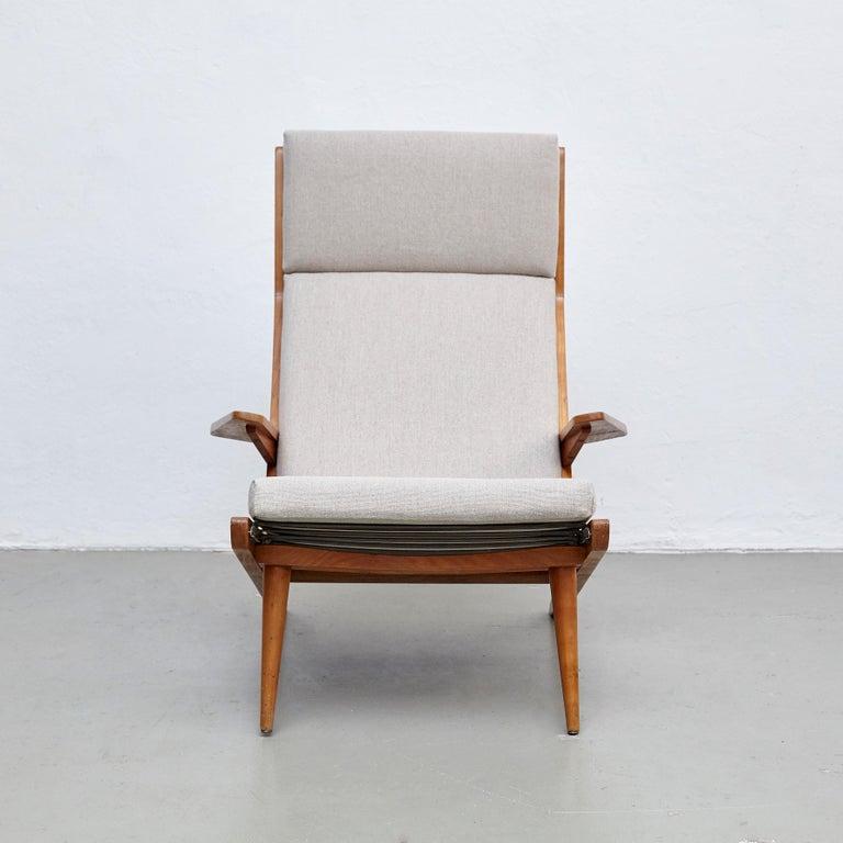 Dutch Pair of Koene Oberman, Mid Century Modern, Wood High Back Lounge Chair, 1960 For Sale