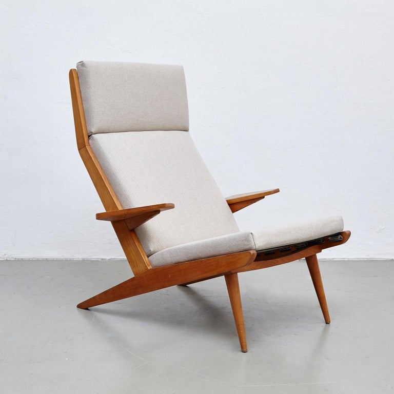 Pair of Koene Oberman, Mid Century Modern, Wood High Back Lounge Chair, 1960 In Good Condition For Sale In Barcelona, Barcelona