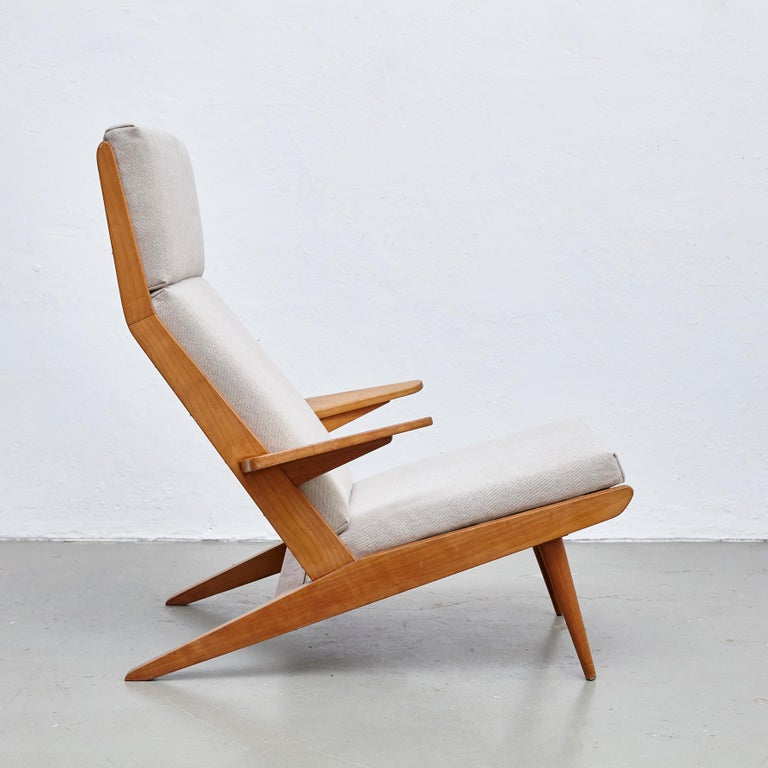 Mid-20th Century Pair of Koene Oberman, Mid Century Modern, Wood High Back Lounge Chair, 1960 For Sale
