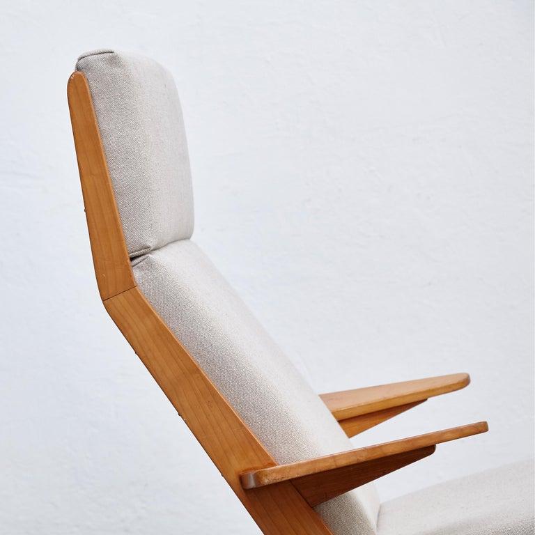 Pair of Koene Oberman, Mid Century Modern, Wood High Back Lounge Chair, 1960 For Sale 1
