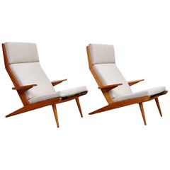 Pair of Koene Oberman, Mid-Century Modern, Wood High Back Lounge Chair, 1960