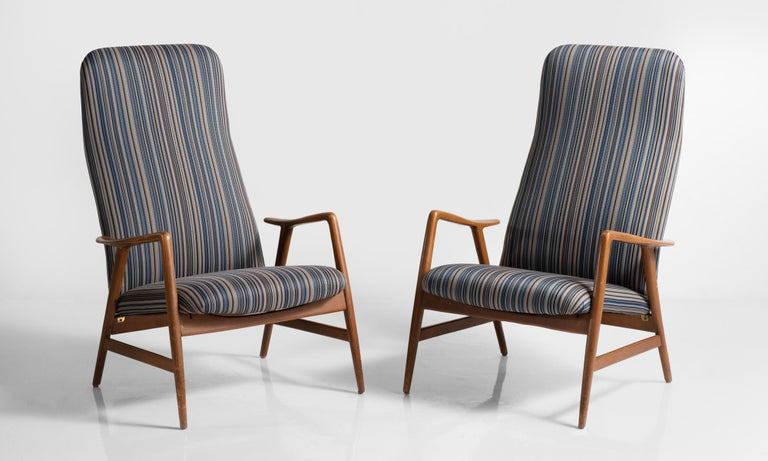 Pair of Kontour Armchairs in Reupholstered Nylon by Alf Svensson, circa 1950  Tall-back modern forms with the ability to recline. Newly upholstered in Maharam Lithe nylon in Blazer, a graphic stripe pattern.