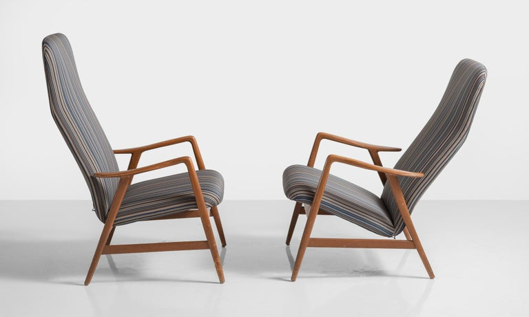 Mid-Century Modern Pair of Kontour Armchairs in Nylon by Alf Svensson, Germany, circa 1950 For Sale