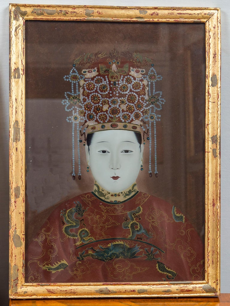 South Korean Pair of Korean Ancestral Eglomise Portraits For Sale