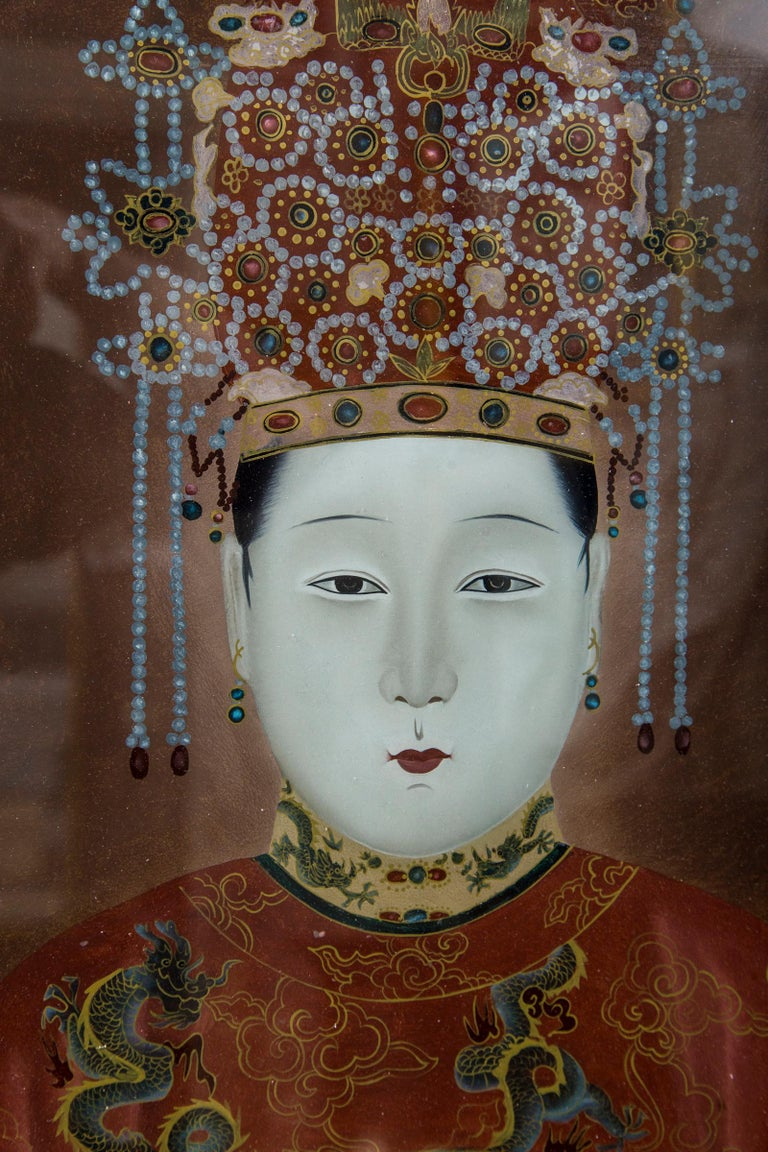 Pair of Korean Ancestral Eglomise Portraits In Good Condition For Sale In Woodbury, CT