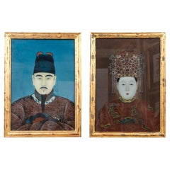 Pair of Korean Ancestral Eglomise Portraits