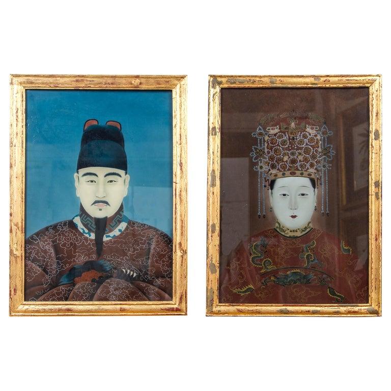Pair of Korean Ancestral Eglomise Portraits For Sale