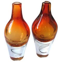 Pair of Kosta Boda Swedish Orange Art Glass Vases; Design Klas-Goran Tinback