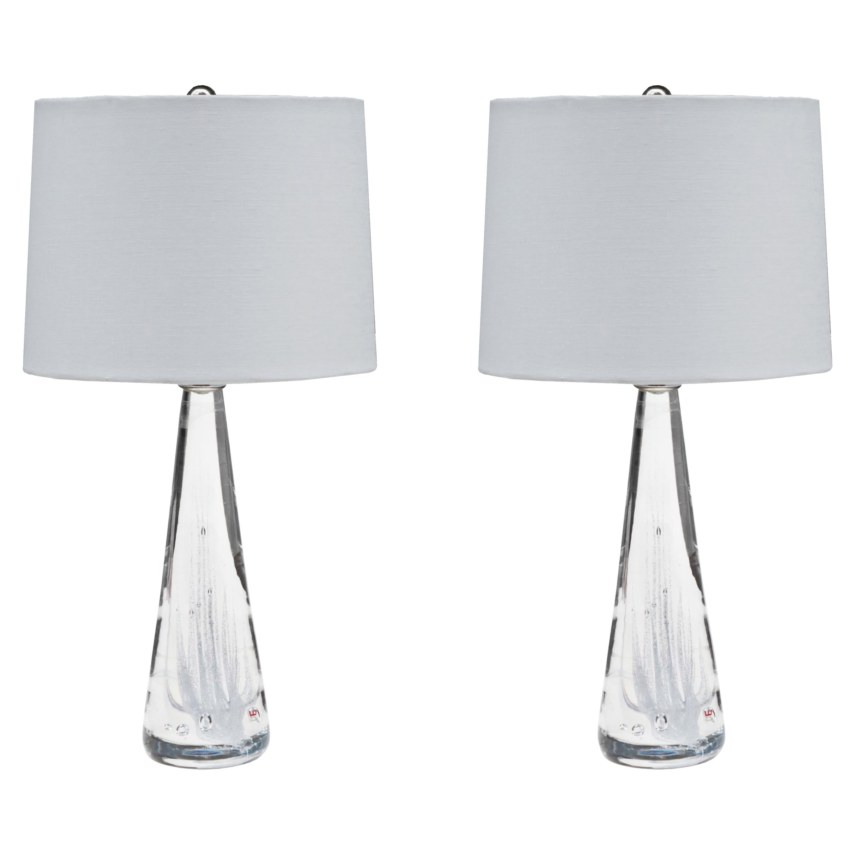 Pair Of Kosta Swedish Modern Glass Table Lamps