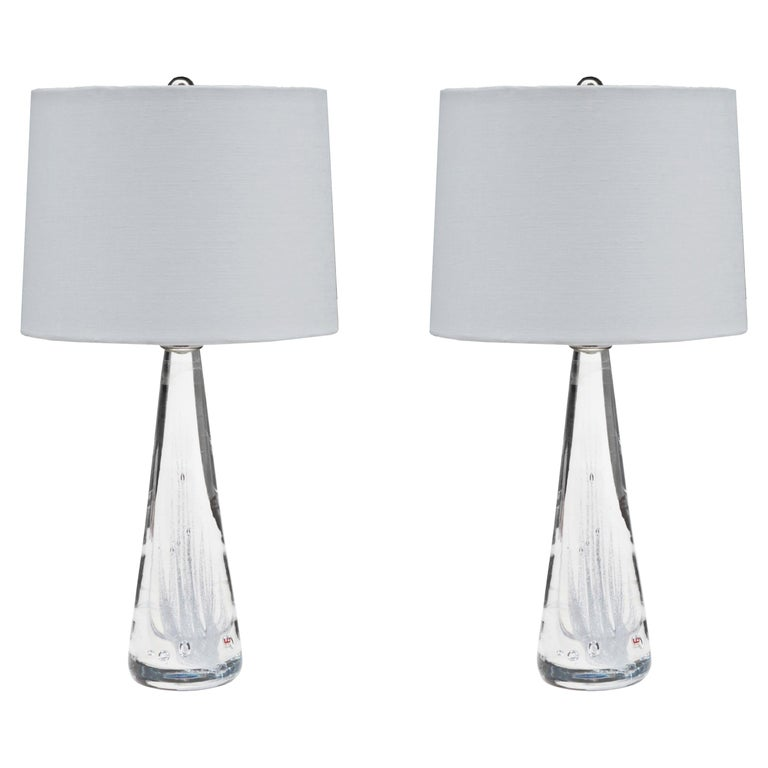 Pair of Kosta Swedish Modern Glass Table Lamps For Sale