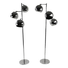 Pair of Kotch and Lowy Chrome Ball Lamps