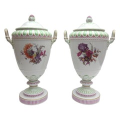 Pair of KPM Berlin Porcelain Lid Vases, Weimar Vase with Landscape Painting
