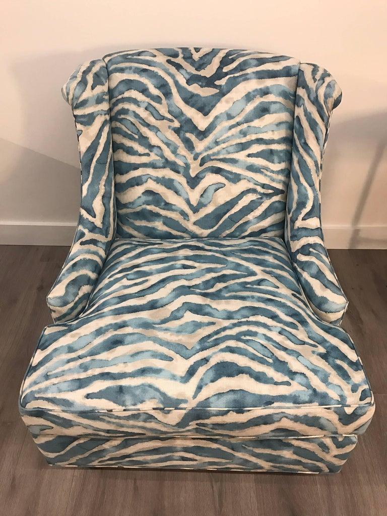 Pair Of Kravet Upholstered Blue Zebra Print Club Wingback