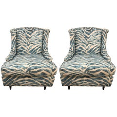 Pair of Kravet Upholstered Blue Zebra Print Club Wingback Chairs