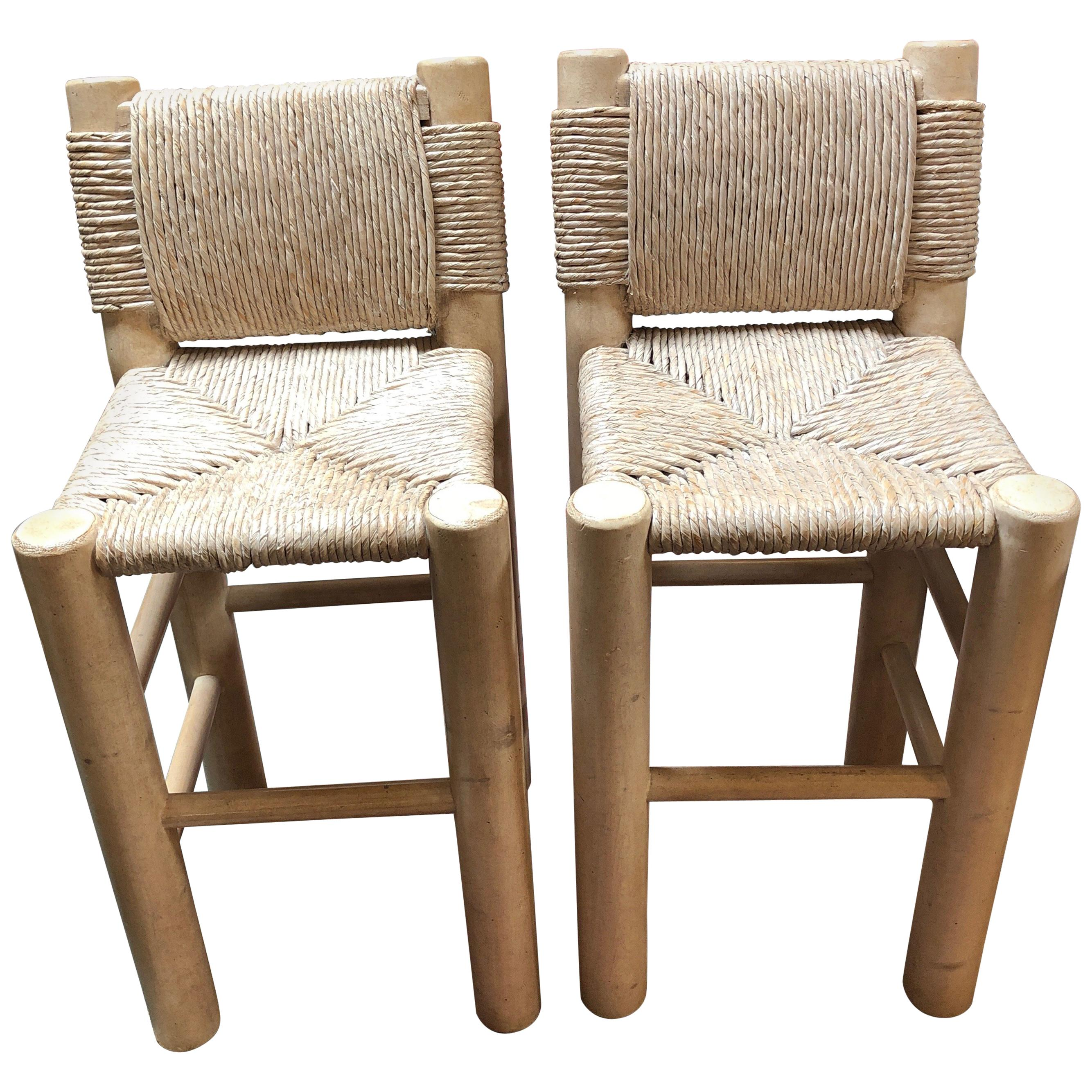 Pair Of Kreiss Rush Wrapped Bar Height Stools For Sale At 1stdibs