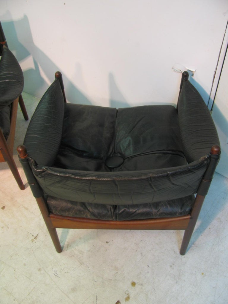 Pair Kristian Solmer Vedel Mid Century Modern Danish Rosewood and Leather Chai For Sale 4