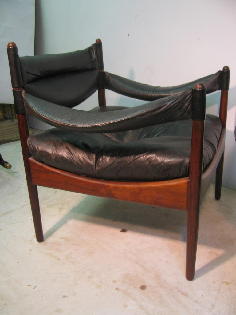 Pair Kristian Solmer Vedel Mid Century Modern Danish Rosewood and Leather Chai For Sale 5