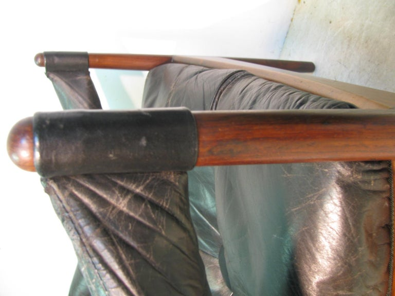 Pair Kristian Solmer Vedel Mid Century Modern Danish Rosewood and Leather Chai For Sale 6