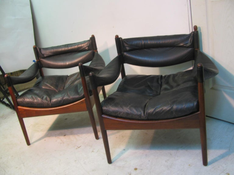 Mid-Century Modern Pair Kristian Solmer Vedel Mid Century Modern Danish Rosewood and Leather Chai For Sale