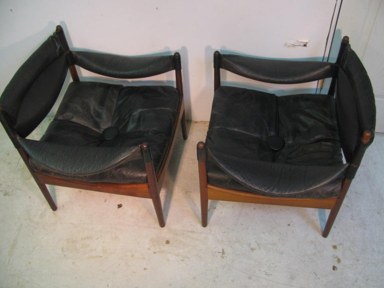 Polished Pair Kristian Solmer Vedel Mid Century Modern Danish Rosewood and Leather Chai For Sale